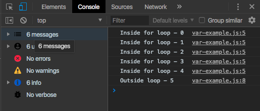 var 2 example console log