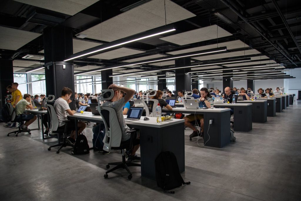 open office space with developers