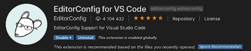 EditorConfig plugin vscode