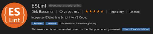 ESLint vscode plugin