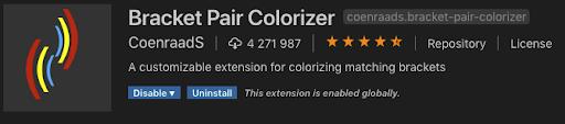 bracket pair colorizer vscode plugin