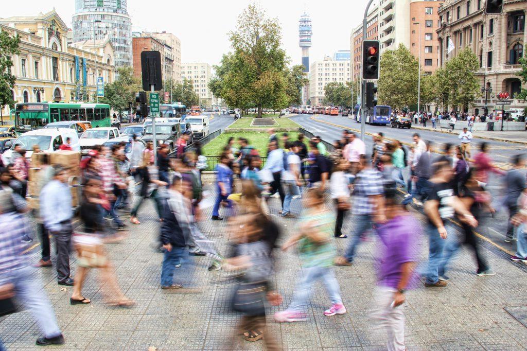 people walking down the road