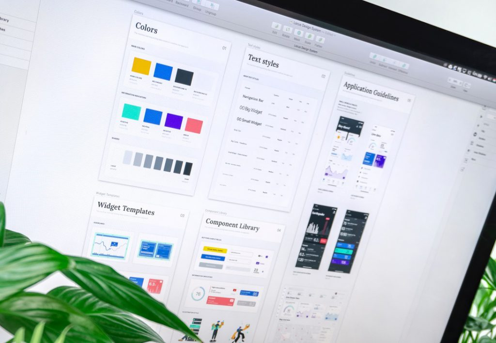 a screen with colors and srtyles to choose for building an app