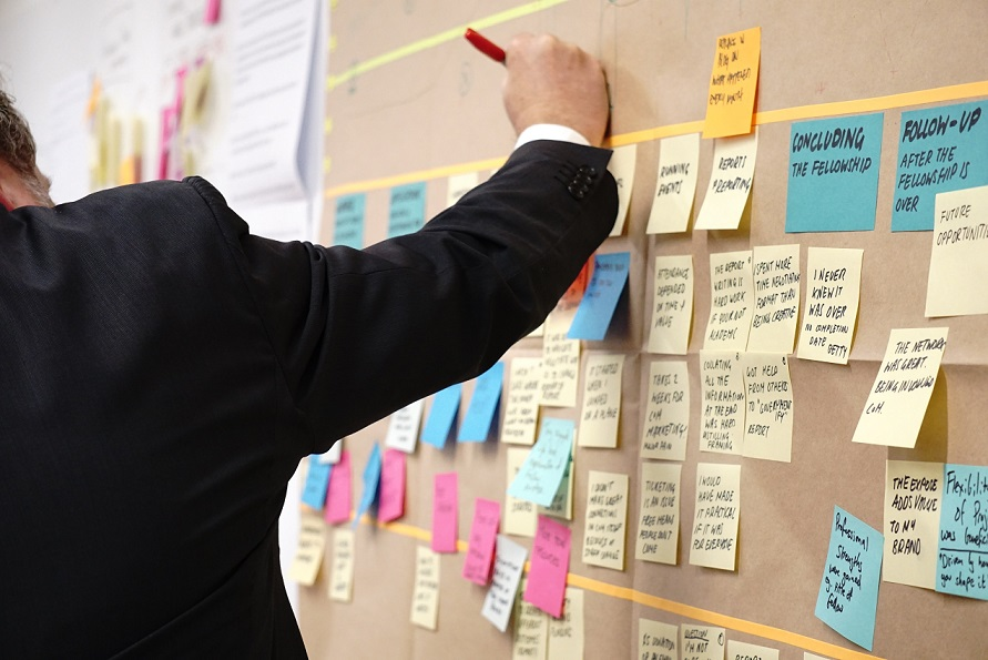 a man in a suit is writing something on the wall board using sticky notes