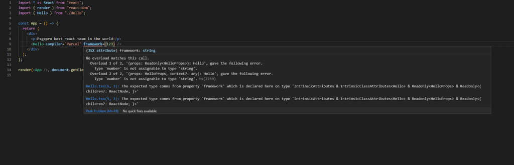 TypeScript error seen in the developer's console