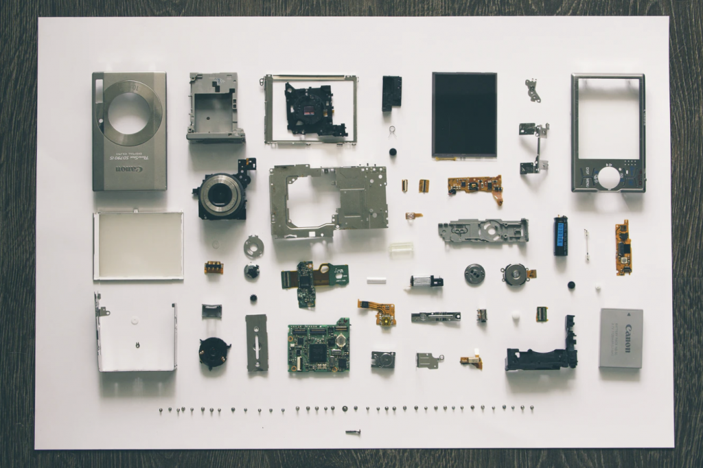 a camera divided into the smallest pieces
