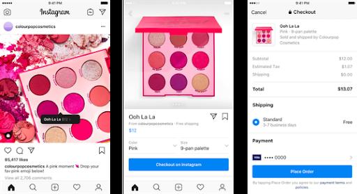 Screenshots of Instagram app