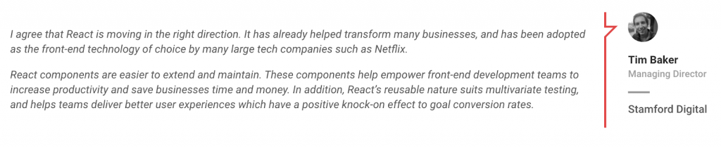 Tim Baker on the benefits of React.js