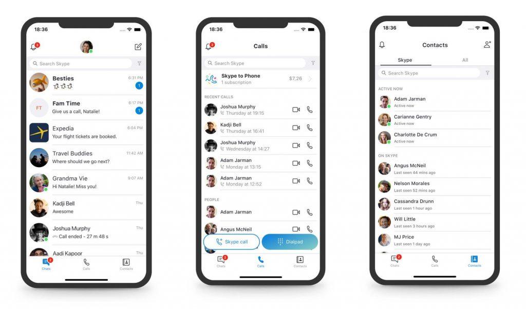 Screenshots of Skype app