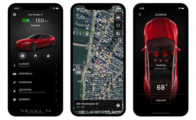 Screenshots of Tesla app