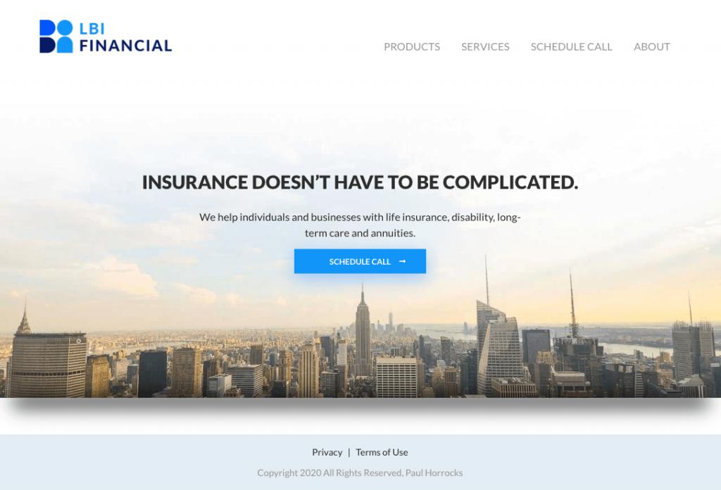 Example of JAMstack website: LBI Financial