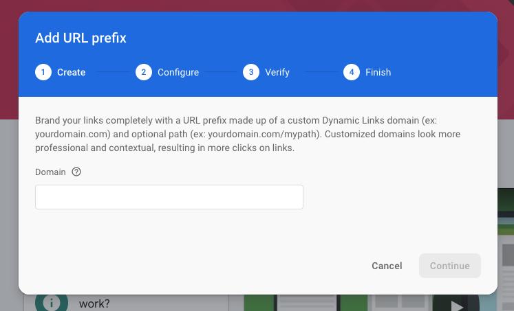 Add URL prefix option in Firebase