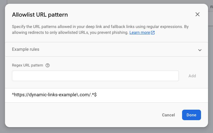 Allowlist URL pattern screenshot