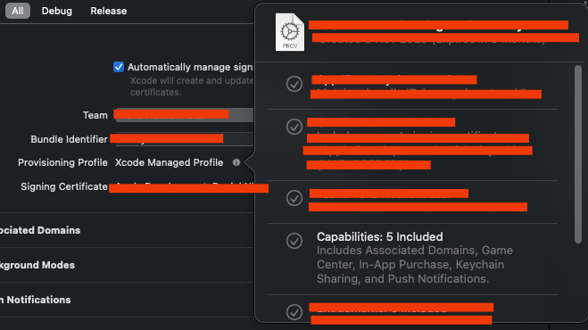 Signing and Capabilities tap in Xcode