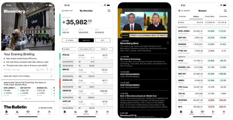 React Native apps: Bloomberg app screenshots