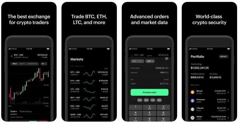 React Native apps: Coinbase Pro app screenshots