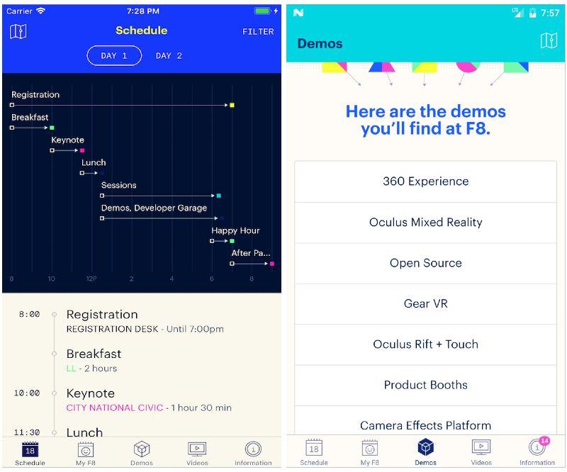 React Native apps: F8 app screenshots