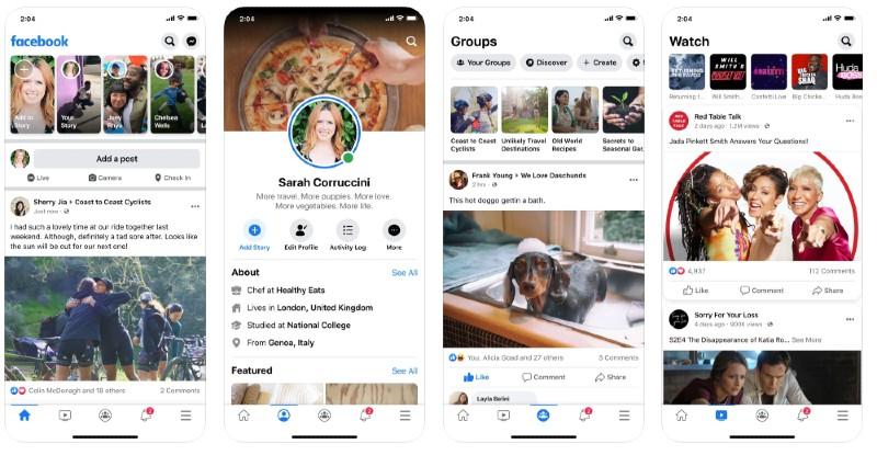React Native apps: Facebook app screenshots