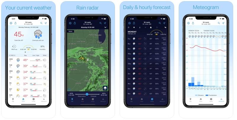React Native apps: Foreca app screenshots