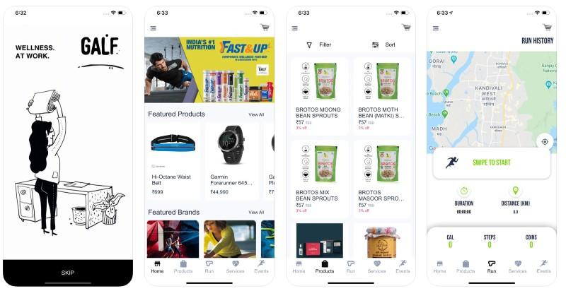 React Native apps: GALF app screenshots