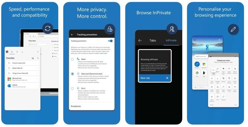 React Native apps: Microsoft Edge app screenshots