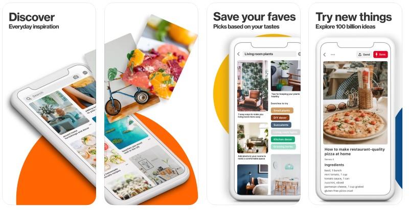 React Native apps: Pinterest app screenshots