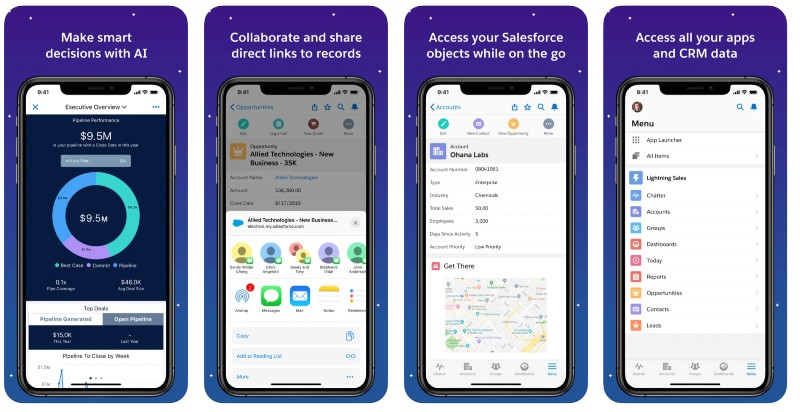 React Native apps: Salesforce app screenshots