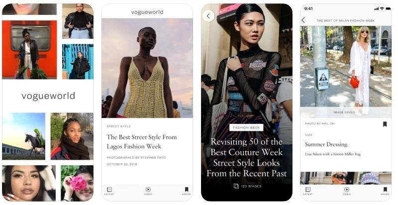 React Native apps: Vogue app screenshots