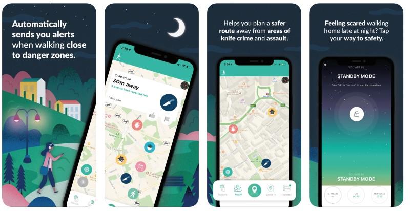 React Native apps: WalkSafe app screenshots