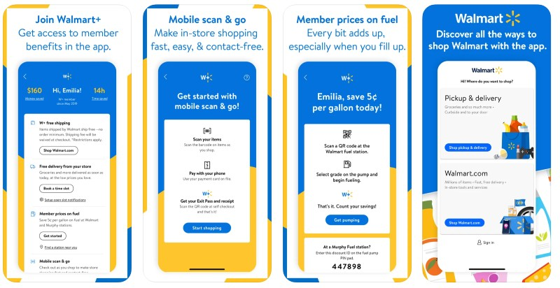 React Native apps: Walmart app screenshots