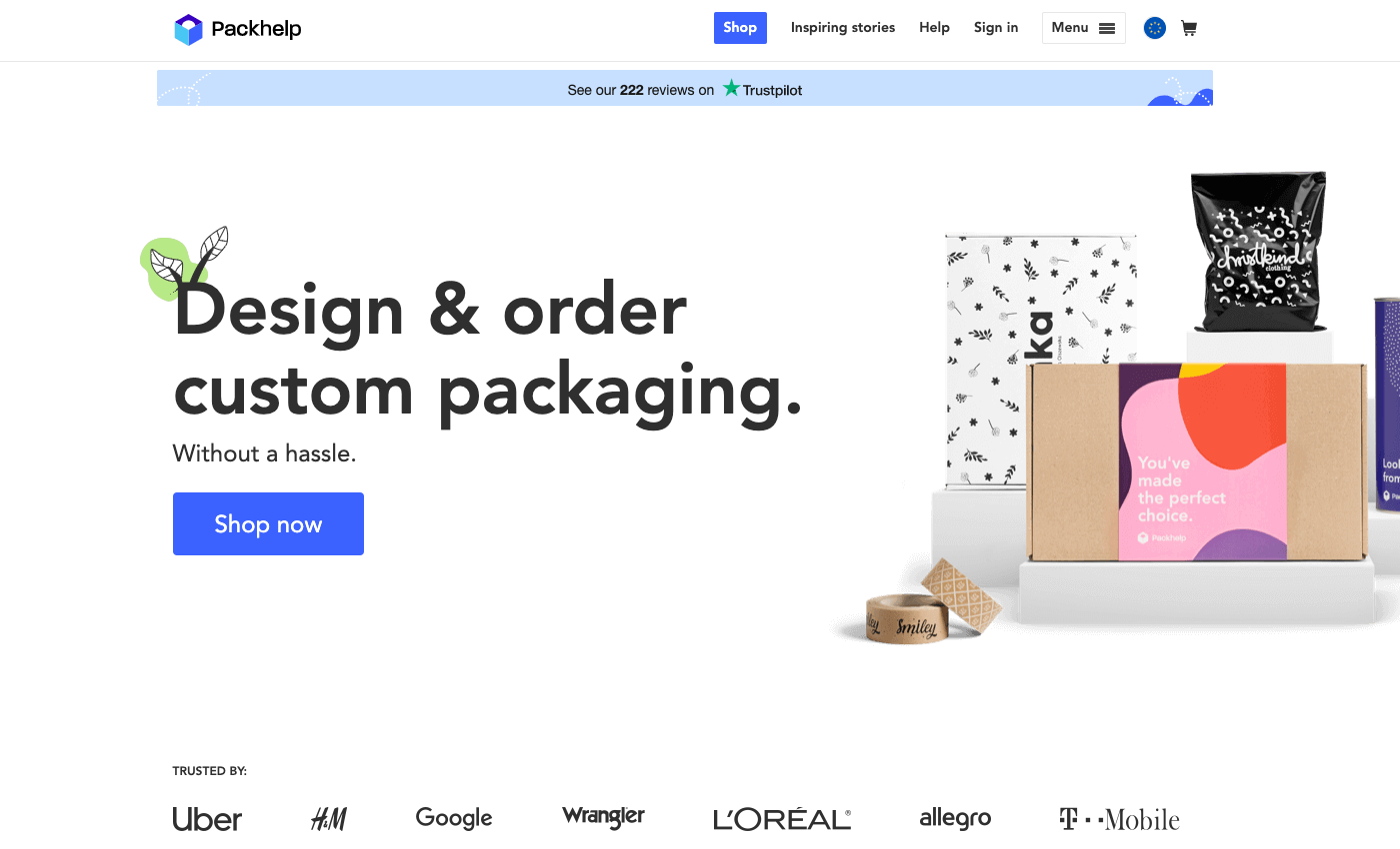 Packhelp Home Page Screenshot